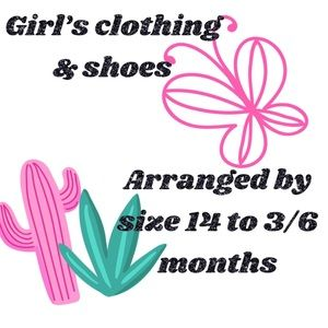 Girl's Clothing arranged by size 14 to 3-6 months